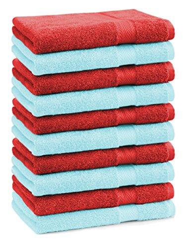 BETZ lot de 10 serviettes débarbouillettes taille 30x30 cm 100% coton Premium couleur rouge et turquoise