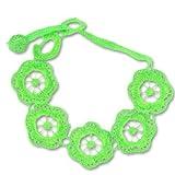 Makramee-Spitze Armband grosse Blumen 22 mm neon grün x1