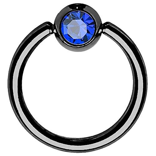 ng Ring Universal Klemmring mit Zirkonia Kristall Klemm Kugel für Septum Brust Tragus Helix Nase Lippe Ohr Intim Nippel Chirurgenstahl Schwarz Blau 1,2mm x 10mm x 4mm ()