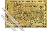 1art1 Poster + Hanger: Game of Thrones Poster (91x61 cm) Antike Landkarte Von Westeros Und Essos, Vintage Style Inklusive EIN Paar Posterleisten, Transparent