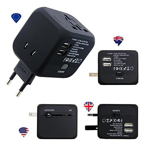 Panboo Reiseadapter World Travel Adapter Universal Weltweit Reisestecker 2 USB für 150 Ländern EU/UK/USA/AU Stecker Australien Brasilien England Dänemark Asien Kanada (No Display-Schwarz) (Mexiko-handy-fällen)