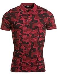 BLZ jeans - Polo homme rouge imprimé effet camouflage