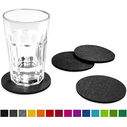 FILU Filzuntersetzer rund 8er Pack (Farbe wählbar) dunkelgrau – Untersetzer aus Filz für Tisch und Bar als Glasuntersetzer / Getränkeuntersetzer für Glas und Gläser