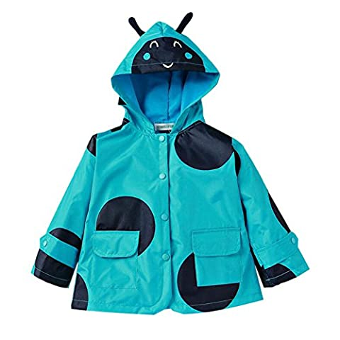 Deylaying Children Dots Printed Waterproof Poncho Rain Jacket Hooded Outwear Rainwear Girls Windbreaker Raincoat (Color:Blue,Suggest Height:140cm)