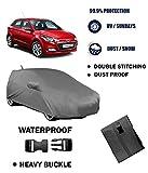 Fabtec Original Waterproof With Mirror Antenna Pocket Grey Car Body Cover For Hyundai Elite I20