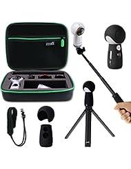 Housse de transport anti-choc, monotype Selfie Stick, mini trépied, peau douce en silicone pour Samsung Gear 360 2017, kit de rechange EEEKit All in One