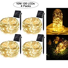 4 Pack Solar String Lights for Garden Patio Christmas Tree Indoor Bedroom, 100 LEDs Decorative Fairy Lighting Copper Wire Waterproof Outdoor Light(Warm White)