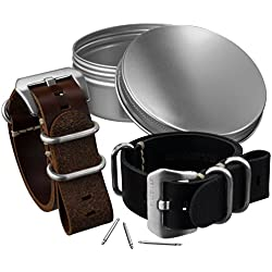 Pack of 2 Leather ZULUDIVER Midnight Black & Chesnut Brown Watch Straps 22mm