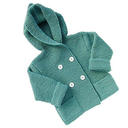 Abrigo para bebé en punto,Yannerr niños niñas traje ropa botón con capucha suéter cardigan tops (Verde, XL)