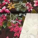 French Terry Stoff Digitaldruck große Blumen pink weinrot