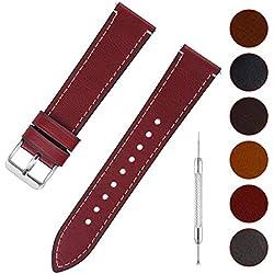 Fullmosa 6 Couleurs Bracelet de Montre en Cuir à l'huile, 14mm 16mm 18mm 20mm 22mm 24mm Bracelet Montre Retro avec Goupille à Dégagement Rapide, 22mm Rouge+Boucle en Argent