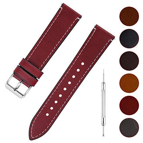 d Leder mit Schnellverschluss, Wax Oil Serie in 16mm,Rot+Silber Schnalle ()