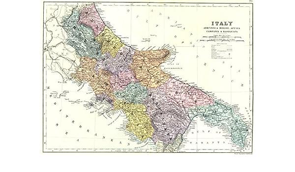 Cartina Geografica Sicilia Sud Orientale.Antiqua Print Gallery Italia Sud Est Abruzzo E Molise Puglia Campania E Basilicata Bacon 1895 Mappa Amazon It Casa E Cucina