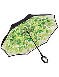 C-tipo asa paraguas automático plegable de doble capa de lluvia bajo el sol bajo el coche