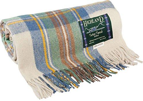 I Luv LTD Stewart Muted Blue Light Blue Cream Tweed Blanket 75% Wool - Light Blue Tweed