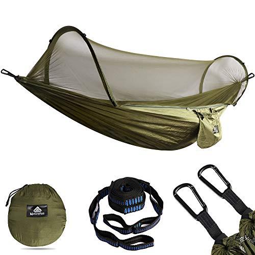 NATUREFUN Ultra-Leichte Reise Camping Hängematte Moskitonetz | 300kg Tragfähigkeit Atmungsaktiv Fallschirm Nylon 2 x Premium Karabiner, 2 x Nylon Schlingen Inklusive(Neues Insektennetz (Armee-grün))