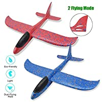 """2pcs Foam Airplane Toy, 16.5"""" Large Throwing Glider Plane with Dual Flight Mode for Kids Outdoor Sports Garden Yard Playing"""