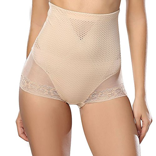 Frauen Körper Shaper Tummy Control Briefs Hohe Taille Panty Unsichtbare Shapewear (XL, Beige)