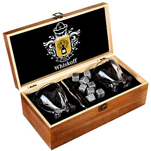Whiskey Glas 2er Set - Bourbon Whiskey Geschenkset - Scotch Steine Pinzette, Untersetzer, Chillingsteine & Bargläser - Trinkgläser für Männer & Frauen - Whiskey Glaswaren in Holz Geschenkbox