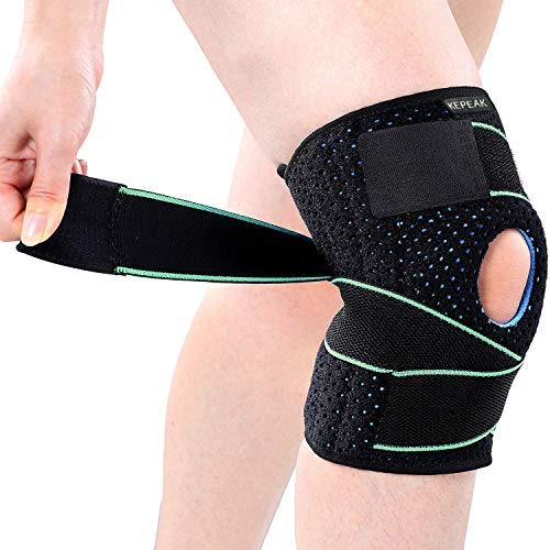 KEPEAK Kniebandage Kompression Knieschoner, Knieorthese Atmungsaktiver Elastische Sport Knieschützer , Einstellbare Kompression Kniestütze für Damen und Herren