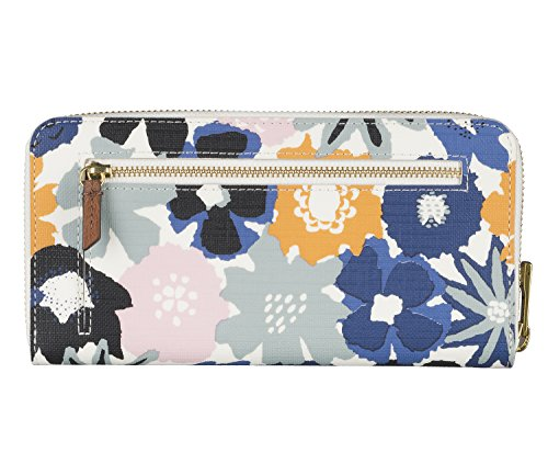 FOSSIL Emma Large Zip Clutch Navy Floral Multicolore