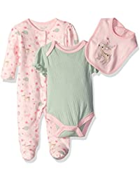 Rene Rofe Baby Girls' 3 Piece Take Me Home Set with Coverall, Bodysuit and Bib, Pink Deer/Flowers