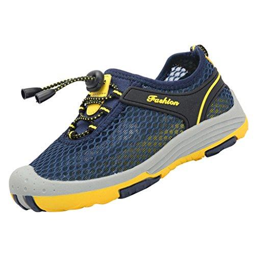 SAGUARO® Atmungsaktives Mesh Sneaker Trekking Walking Wander Schuhe Outdoor Sport Halbschuhe Sommer Junge Mädchen Kinder Marine Blau