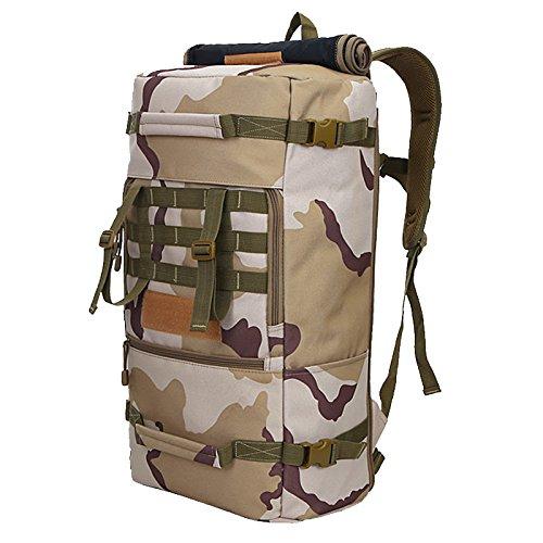 Bergsteigen Reisen Rucksack große Kapazität multifunktionale Sport Taschen Outdoor Sport camouflage Rucksack camouflage Schulter Rucksack 65 * 35 * 25 cm, drei sand Camouflage Drei Sand camouflage