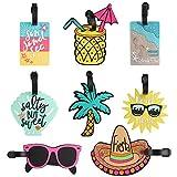 Dadabig 8 Pezzi Etichette per Bagagli Spiaggia Tag Identificative di Viaggio Valigia Unici in PVC ID Viaggio Borsa Tag per Zaino Valigia, 8 Stili