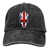 Hoswee Cappellino da Baseball/Berretto da Baseball, British UK Flag Sugar Skull Plain Adjustable Cowboy cap Denim Hat for Women And Men