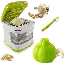 Mini Prensa ajos,Newanima triturador de ajos picadora de ajos plástico resistente con cuchillas de acero inoxidable,y Pelador de ajo, cepillo de limpieza