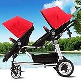 WUZHI Doppel-Kinderwagen Doppelkombi Doppel-Kinderwagen Mit Kinderwagenaufsatz Neugeborenes Und Kleinkind,Red