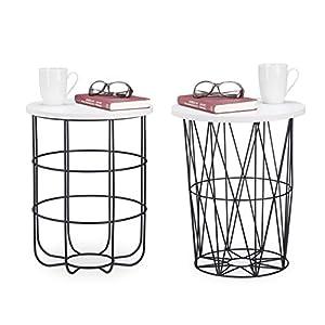 Relaxdays, weiß-schwarz runder Beistelltisch mit Metallkorb, dekorativer Couchtisch, Wohnzimmertisch modern, 42cm hoch…