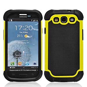 SOOPER Yellow Defender Heavy Duty Protective Hard Full Body Cover Case for Samsung Galaxy i9300 S3 + Free Screen Protector (Yellow)