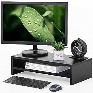 FITUEYES Monitorständer Bildschirmständer aus Holz für Monitor Laptop Fernsher 54x25.5x14cm schwarz DT205401WB