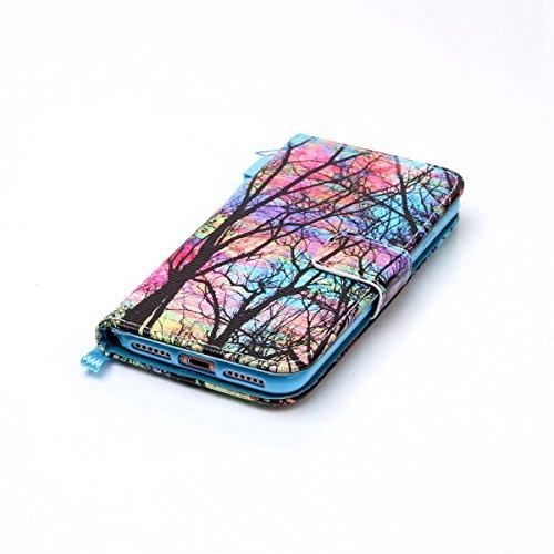 Cover iPhone 7 ISAKEN Drawing Pattern Design Elegante borsa Custodia in Pelle PU per iPhone 7 Sintetica Rigida Case Cover Protettiva Flip Portafoglio Case Cover Protezione Caso con Supporto di Stand / albero colorate