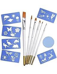 eBoot Visage et Corps Peinture Outil en Kit avec Pinceaux Visage de Peinture, Pochoirs et Éponge Ronde