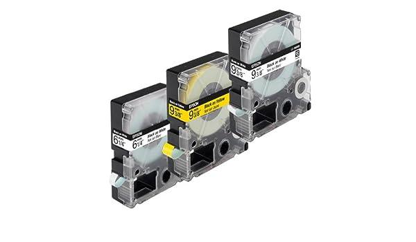 6 mm Beschriftungsband f/ür Epson 6mm breit Schriftband LabelWorks-Band LW300 LC-2YBP9 Schwarz auf Gelb 9mtr.