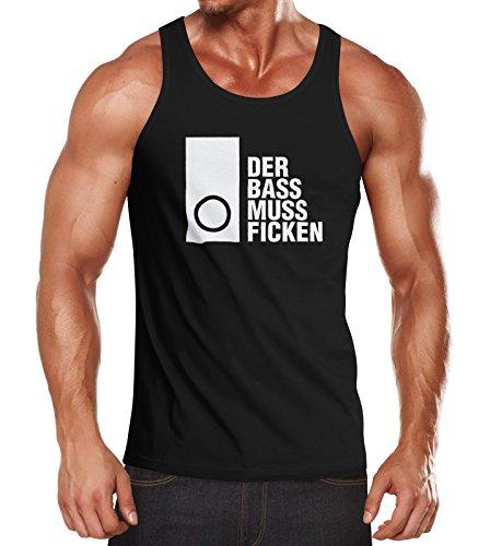MoonWorks Herren Tanktop Techno Spruch - der Bass muss Ficken - Party Festival Rave Muskelshirt Muscle Shirt Schwarz