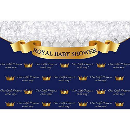 Cassisy 1,5x1m Vinyl Babydusche Foto Hintergrund KÖNIGLICHE Baby DUSCHE Banner Junge Krone Blaue Tapete Fotografie Hintergrund für Photo Booth Party Fotostudio Requisiten