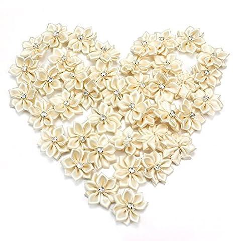 40Pcs Crystal Rhinestone Decoration Satin Ribbon Flower Appliques Crafts Beige (colour1)