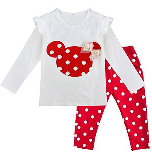 Tiaobug Babykleidung Baby - Mädchen Bekleidung im Set mit Langarmshirt Top und Hose Polka Dots Muster 80 86 92 98 Rot 86 (Herstellergröße:90) ?