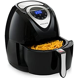Andrew James Digital Air Fryer 3.2 litres | Hot Air Circulation Technology for Healthy Oil Free Low Fat Dry Fry Cooking | 7 Pre-Set Functions & Timer | 1400W