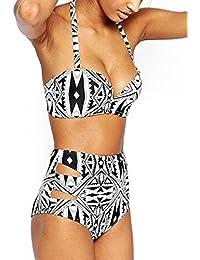 Walant Damen Hoher Taille Bikini High Waist Badeanzug Mode mit Geometrische Muster