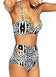 Walant Damen Hoher Taille Bikini High Waist Badeanzug Mode mit Geometrische Muster, Size M