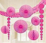 Amscan 243568-103-55 - Hängedekoration - 9-teilig Set, rosa -