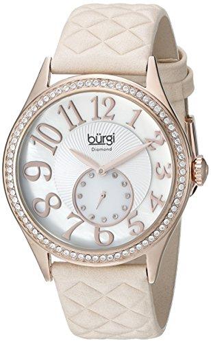 Burgi Femme Montre à quartz avec Mother of Pearl cadran affichage analogique et bracelet en cuir rose bur141nu
