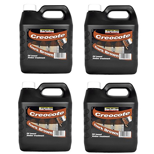 Price comparison product image Bartoline Creocote Creosote Substitute Dark Brown Timber Wood Fence Treatment 4Ltr (Pack of 4)