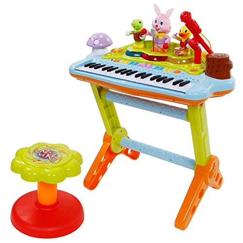 SGILE Spielzeug Keyboard mit Mikrofon und Hocker, Tragbar Kinder Klavier Piano Standkeyboard Spielzeug Set, Karaoke Tastatur Musikinstrument für Kleinkind Lernspaß Kindergeschenk