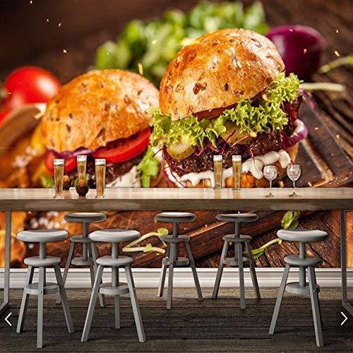 WAHAZC Tapete Hintergrundbild Hausgemachte Burger Mit Salat Und Käse Essen 3D Wallpaper Fast-Food-Shop Küche Restaurant Bar Wandbild, L350 * W256Cm - Salat Food Bar